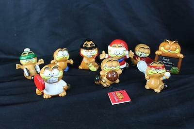 Lot of 10 Vintage 1978-1981 Enesco Garfield Ceramic Figurines Mostly Sports