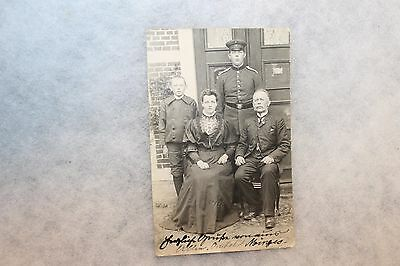 Original WW1 German Army Soldier & Family Photo Postcard, Mailed to the USA