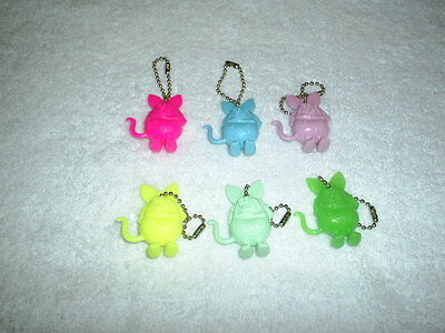 "Lot Of 6 (Different Colors)  Ed Roth ""rat Fink"" Figureal Key Chain Keychain 1984"
