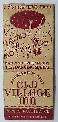 Rare Matchbook Cover - OLD VILLAGE INN - CHICAGO - DANCING EVERY NIGHT - GIRLY