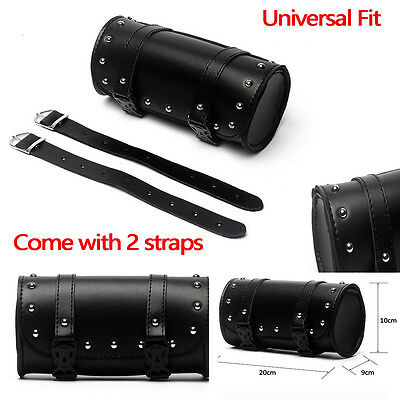 Motorcycle PU Leather Tool Bag Luggage Saddlebag Roll Barrel Storage For Harley!