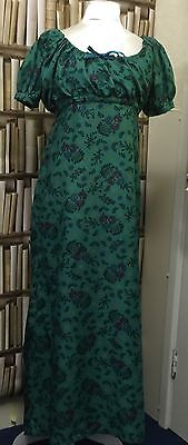 Made To You Measurements Regency Cotton Round Gown - Choice Of Green Fabrics.