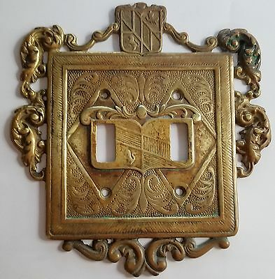 1954 Vintage Virginia MetalCrafters Ornamental Brass Double Switch plate 24-18