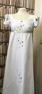 Regency Style Embroidered Cotton Gown In Your Choice Of Fabric