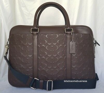Coach Perry Leather Briefcase Business F72230 Mahogany Brown Laptop Commuter Bag