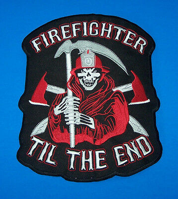 Large Back Patch Fire Department Fire Fighter Till The End For Vest Jacket New