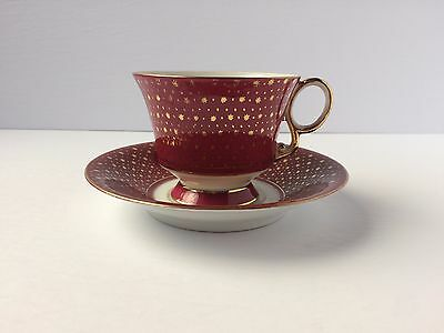Shafford Teacup & Saucer - Hand Painted - Yellow Red Blue Flowers & Gold Stars