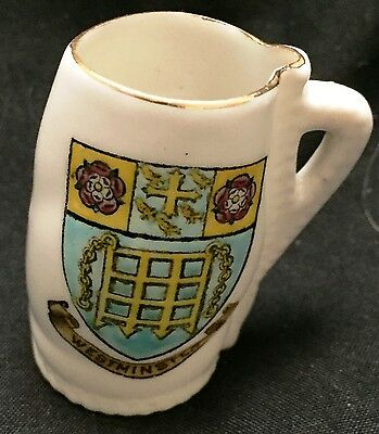 Westminster Crest souvenir Porcelain Copy of Royal Salisbury Jack By W.H. Goss