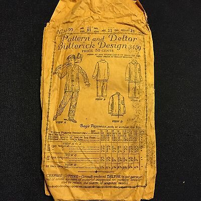 RARE 1910's Vintage Butterick Boys Pajamas Sewing Pattern and Deltor 3459 Age 11