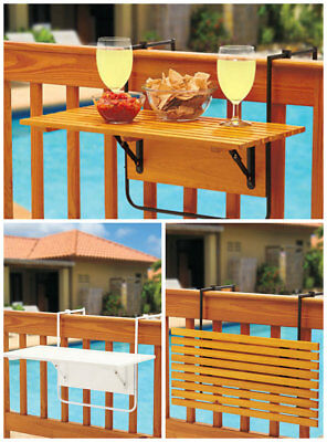 FOLDING WOOD DECK TABLE TRAY RAILING PATIO PORCH BALCONY Outdoor Pool Party BBQ