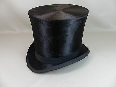 Antique or Vintage Mens Silk Plush Stovepipe Top Hat Young Hatter Tiger Hall NYC