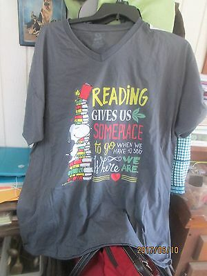 Reading gives up someplace to go T-shirt w/snoopy- womens 2XL- V-neck
