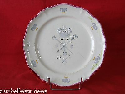 Old / Ancient Plate Earthenware Saint Amand Pattern Revolutionary Has Fine/