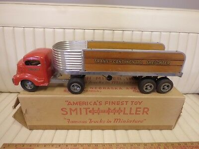 1950s SMITH MILLER Trans-Continental Freighter Toy Pressed Steel Truck w/ Box