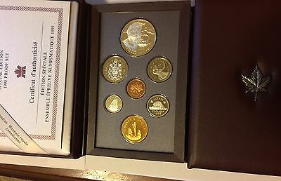 1995 CANADA Proof Double Dollar Seven Coin Specimen Proof Set (Red Cover)!