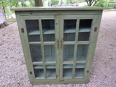 Antique Farm House Distressed Primitive Paint Glass Front Cabinet BookCase Hutch