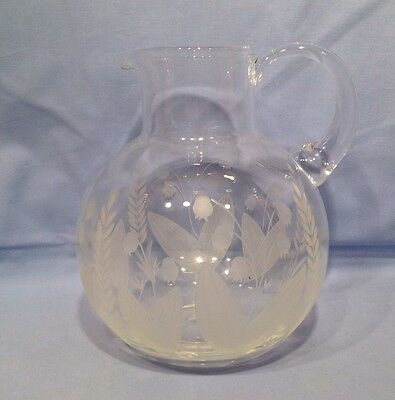 Tiffany & Co Large Etched Glass Jug Signed