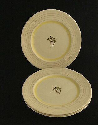 """VINTAGE GRAY'S POTTERY HANDPAINTED 10"""" DINNER PLATES X 4 Circa 1950s"""