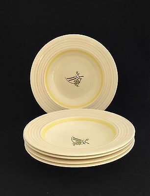 """VINTAGE GRAY'S POTTERY HANDPAINTED 9"""" BOWLS X 5 Circa 1950s"""