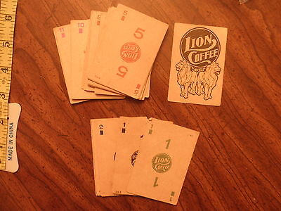 ANTIQUE Lions Coffee TRADE CARD Lot of 31 playing cards