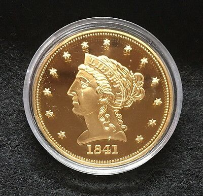 1841 Gold Liberty Head Coronet 1/4 Eagle Layered In 24 K Gold American Mint