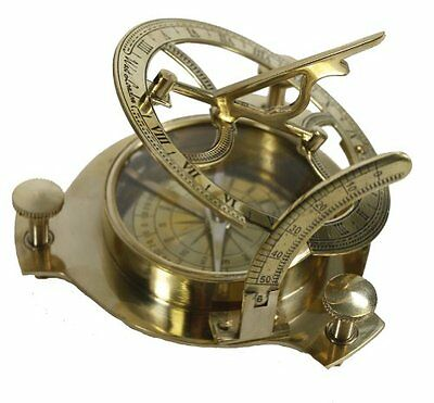 Brass Sundial Compass Nautical Maritime Antique Vintage Style London Decor Gift