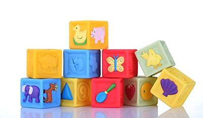 Squeeze and Stack Block Set (set of 10) Soft Baby's Toys Bath Toys Building Bloc