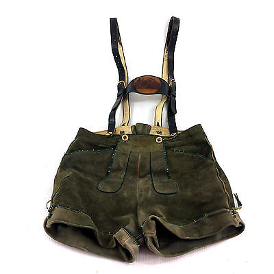 Authentic Lederhosen German Austrian Bavarian Green Leather Vintage Mens 34""
