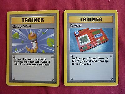 2 Pokemon Trainer cards 1999 Pokedex and Gust of Wind 93/102, 87/102