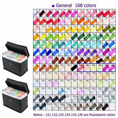UK Set of 168 Colour Marker Pen Twin Tip Touch New Graphic Art Sketch Broad Fine