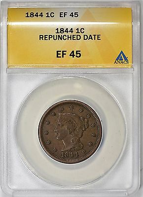 1844 Braided Hair Large Cent Repunched Date ANACS XF-45