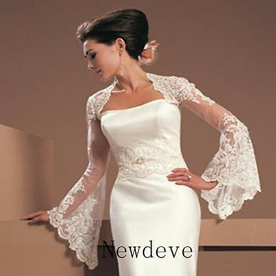 White Ivory Lace Wraps Wedding Jacket Trumpet Sleeves Bridal Bolero Shrug Custom