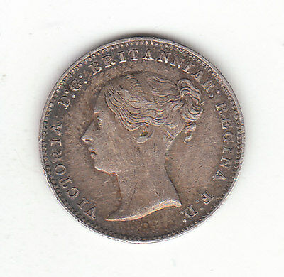 1868 Great Britain Queen Victoria Silver Threepence.  Scarce. EF.