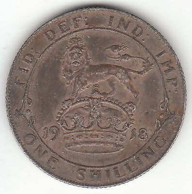 1918 Great Britain George V Sterling Silver Shilling.