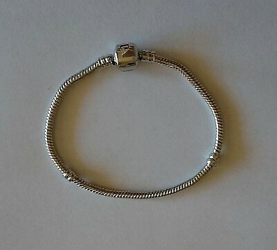 Silver Tone European Style Snake Chain Bracelet Fit European Beads Charms 18cm