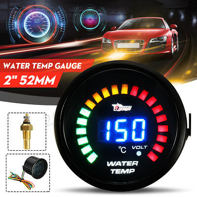 "2"" 52mm Digital Blue 20 LED Display Water Temp Temperature Gauge Meter 20-150°C"