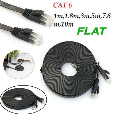 3.3 6 9.8 16 25 32 FT CAT6 Flat Slim Ethernet RJ45 Network LAN Cable Cord