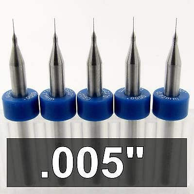 ".005""  Carbide Drill Bits - FIVE pieces -  1/8"" Shaft cnc pcb model hobby R/S"