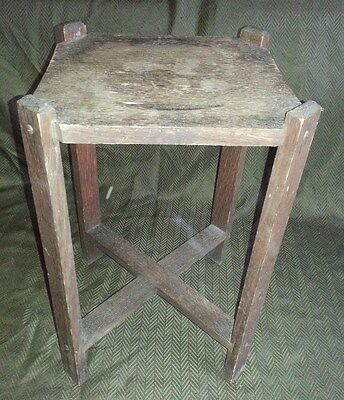 "Vtg Antique Arts Crafts Mission Style Oak Wood 18"" Tall Side Table Plant Stand"