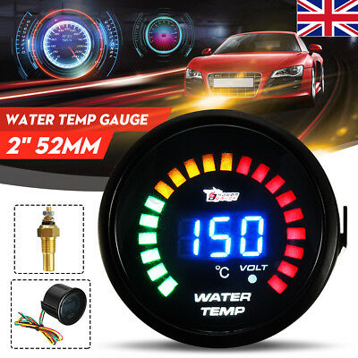 "Car 2"" 52mm Blue Digital LED Display Water Temp Temperature Gauge Meter 20-150°C"