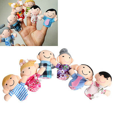6Pcs Family Finger Puppets Cloth Doll Baby Educational Hand Story Bed Kid Toy