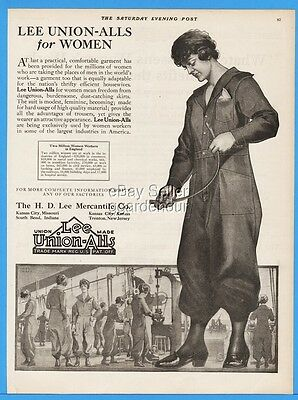 1918 Lee Union Alls For Women Working Factories Mercantile England Fred Craft Ad