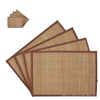 Bamboo Placemats Set Of 4 Dinner Table Decor Kitchen Place Mats 12x18in Brown