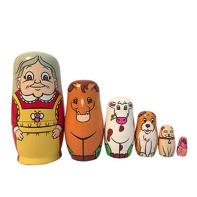 Set of 6pc Wooden Nesting Doll Matryoshka Babshka Russian Doll Paint Gift Decor