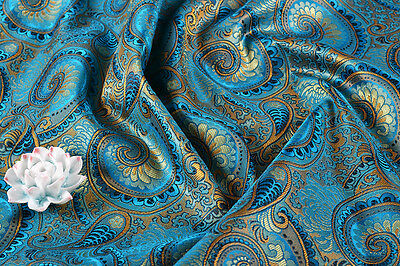"BY YARD x36"" ORIENTAL SILK DAMASK JACQUARD BROCADE FABRIC TAPESTRY: PEACOCK TAIL"