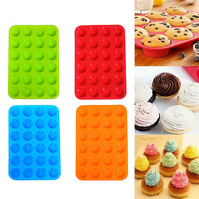 NEW 24 Cavity Mini Muffin Cup Silicone Cookies Cupcake Bakeware Pan Tray Moul