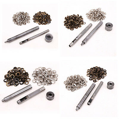 4-8mm Eyelet Punch Die Tool Set 100 Eyelet Clothing Grommet Banner Leather Craft