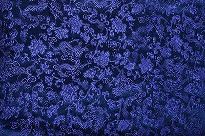 "By Yard X 28"" Silk Damask Jacquard Brocade Fabric Tapestry: Chinese Blue Dragon"