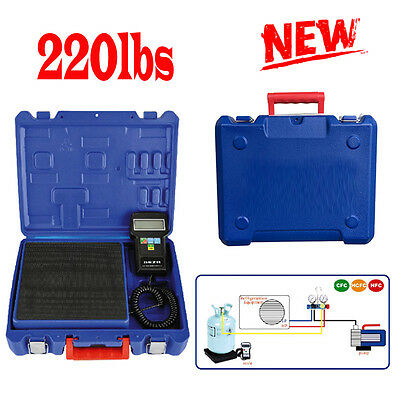 100kgs/220lbs Electronic Refrigerant Charging Scale Digital For HVAC +Case NEW