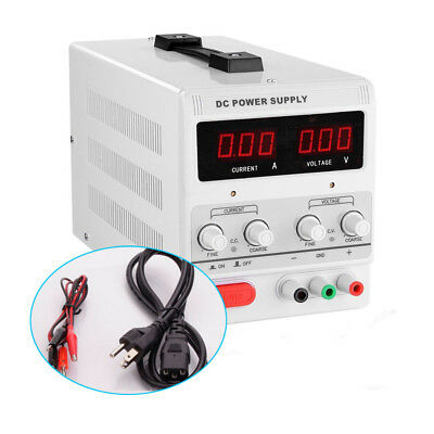 30V 5A 110V Precision Variable Adjustable Digital DC Power Supply w Clip Cable